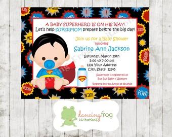 Superhero Baby Shower Invitation - Custom Printed Superhero Baby Shower Invitation -  You pick which Superhero - by Dancing Frog Invitations
