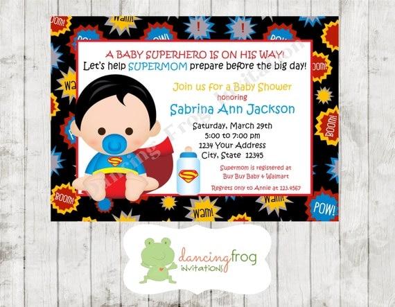 baby shower invitation custom printed superhero baby shower