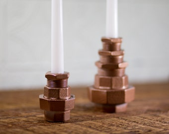 Iron candlestick holder set | Industrial candle holder | Industrial wedding