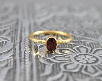 Red Crystal Stacking Ring. Delicate Gold Stacking Ring. Gem Ring. Simple Ring. Fashion Ring. Birthday Gift. Boho Style Ring