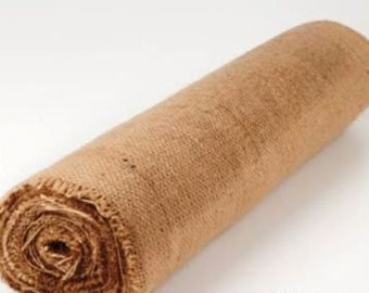 Hessian Burlap Jute Roll Runner 50cms x 10 metres. Natural  Finish to create rustic / country weddings, events and parties!