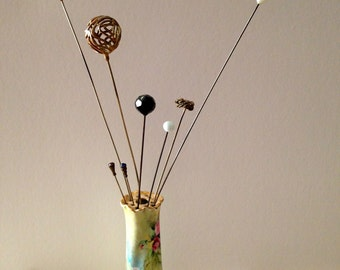 SALE Victorian Hat Pin Holder with Hat Pins.