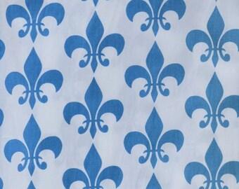Blue Fleur-de-lis Fabric by the Yard