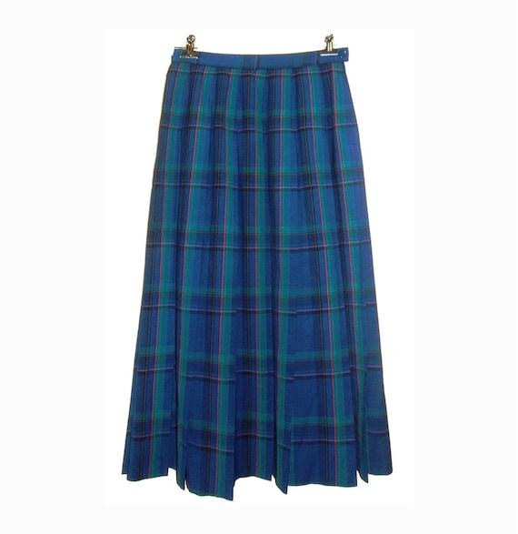 pendleton royal blue green tartan plaid pleated skirt sz 10