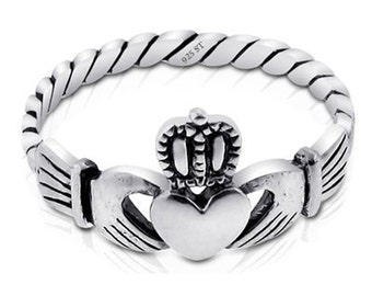 Sterling Silver .925 Irish Claddagh Friendship and Love. Sizes 4-10 | Made in USA