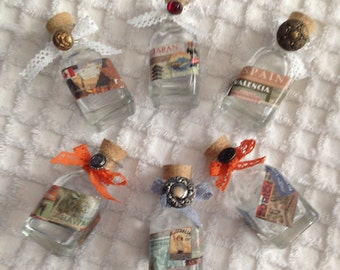 Small Glass Bottles with Vintage Style Travel Pictures (choice of one)