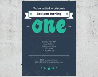 1st Birthday Invitation for Boy or Girl | Printable DIY | Color Customizable