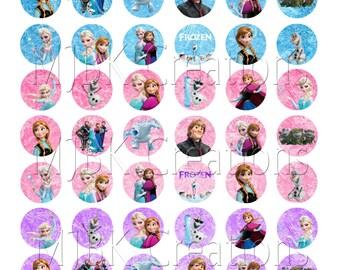 "Frozen 1"" Bottle Cap Images - 8.5 x 11 Digital Collage Sheet - Instant Download"