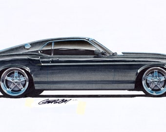 1969 Ford Mustang Boss 427 Project Car 12x24 inch Art Print by Jim Gerdom