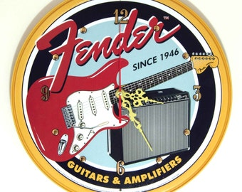Fender Guitar Wall Clock - 11.75 Diameter - New