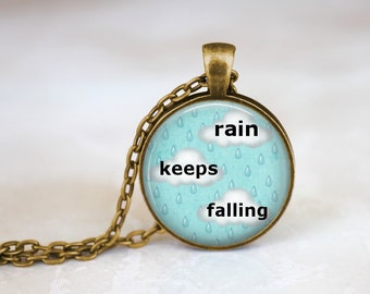 FREE SHIPPING Rain Necklace, Cute Cloud Necklace, Sad Quote Jewelry, Rainy Day Pendant, Rain Drop Necklace, Winter Cloud Necklace, Winter Ra