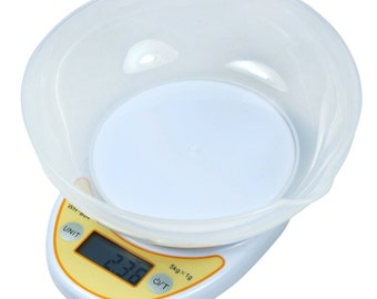 Compact 5Kg /11lbs x 1g Digital Kitchen Diet Food Scale w/ Removable Bowl
