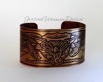 Copper Cuff Etched wi/ Morning Glory Motif, Flowers, Art Nouveau, Vine, Woman's Bracelet