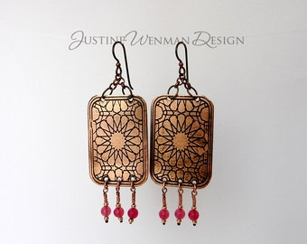 Copper Earrings Etched w/ Stars Motif, Dangling Pink Beads, For Pierced Ears