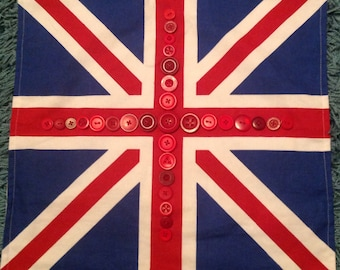 union Jack cushion cover with a buttony twist