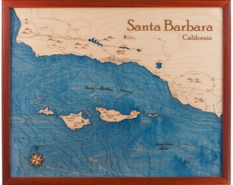 Santa Barbara 16x20 3D Wall Chart