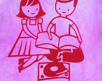 hand dyed/silk-screened vinyl record player Tshirt ADULT LARGE