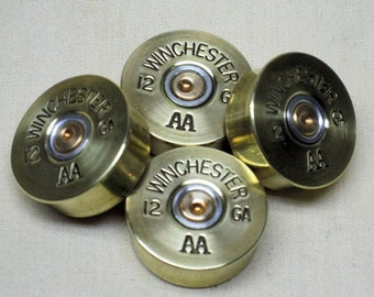 "4 Winchester Brass Shotgun Shell Guitar Knobs, Standard 11/32"" High"