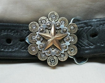 Bullet Belt Buckle 38 Special Brass with Scalloped Star