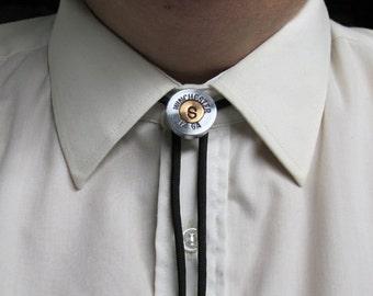 Men's Bolo Tie Monogram, Shotgun Shell Nickel - Wedding Gift