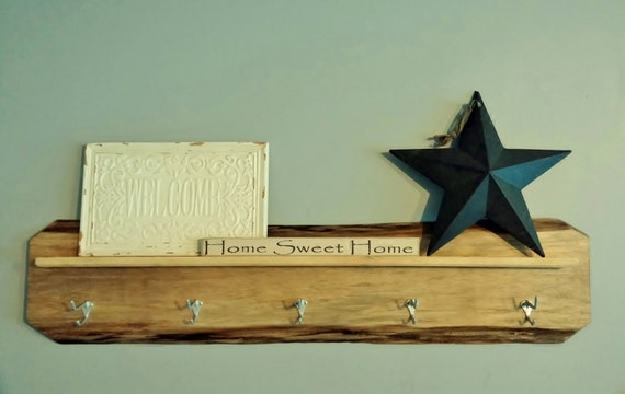 Decorative wall hanging coat rack : Rustic home decor hanging coat rack with wall shelf hook