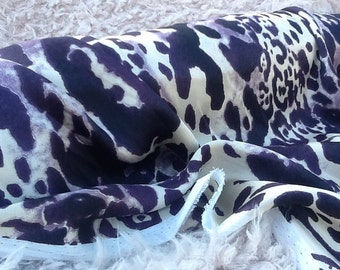 Purple Leopard Satin Fabric by the Yard