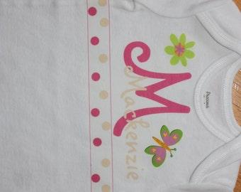 Baby girl personalized Butterfly flower polka dot baby bodysuit