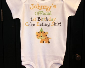 Official 1st Birthday Cake Eating shirt bodysuit or t-shirt