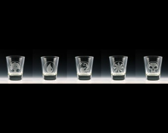 Magic the Gathering Mana Symbols Shot Glass Set