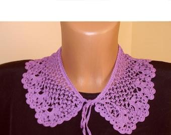 crochet collar  purple 100% cotton handmade