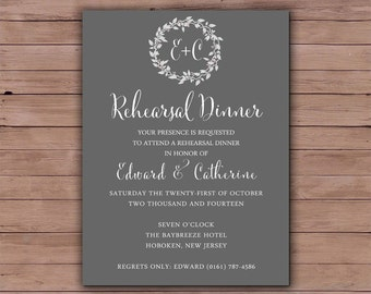 Printable Wedding Rehearsal Dinner - Rehearsal Dinner Invitation - Printable Wedding Invitation - The Hepburn Collection Design