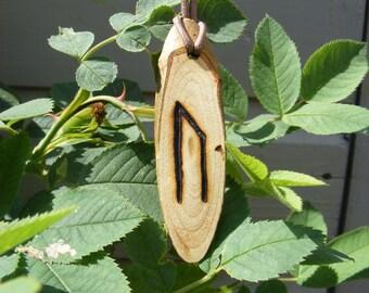 Wooden Pyro'ed Ur Rune Pendant
