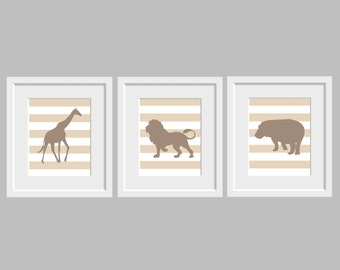 Nursery wall art set of 3 navy blue nursery baby animal prints - Popular Items For Safari Animal Art On Etsy