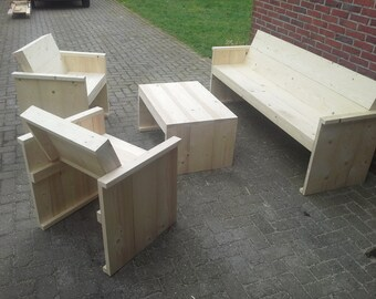 Garden set of scaffold planks, sofa, 2 chairs and 1 table