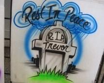Custom Airbrush RIP T Shirt, freehand, not a stencil, rest in peace, RIP shirt