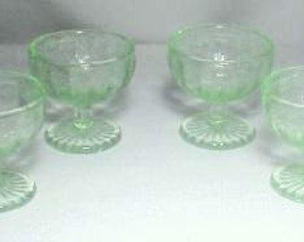 Child's Footed Sherbets Set of 4 Cameo or Ballerina Pattern in Green