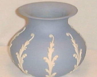 Vintage Vase by ECanada Art Pottery Jasperware in Blue with White Fronds