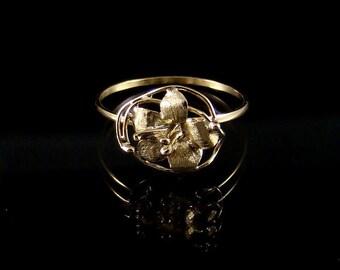 flower ring ,gold ring 14 k