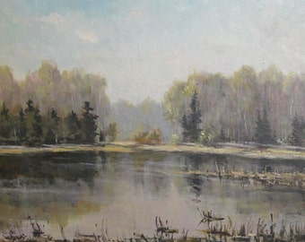 1988 Russian oil painting forest lake view signed