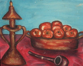Still life pipe apples vintage oil painting