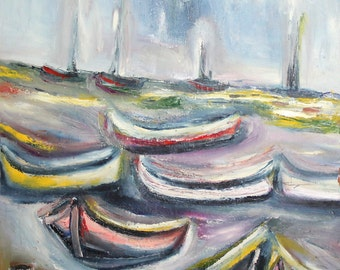 Fauvist seascape boats oil painting signed