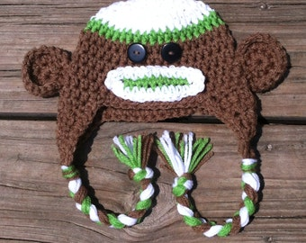 Crochet Monkey Hat with Earflaps and Braids, Crochet Sock Monkey Hat, Crochet Brown Monkey Hat, Crochet Brown Sock Monkey Hat