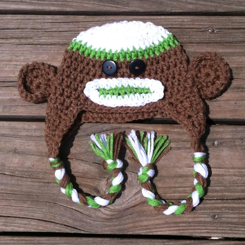 Crochet Monkey Hat with Earflaps and Braids Crochet Sock