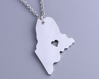 I heart Maine Necklace - Maine Pendant - State Charm - Map necklace - Map Jewelry