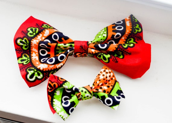 Ankara african hair clip- Mother / daughter - red bow tie