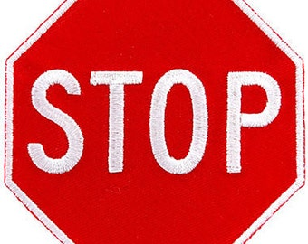 RED STOP SIGN patch embroidered iron-on Highway Traffic Sign Road Emblem Biker Symbol applique