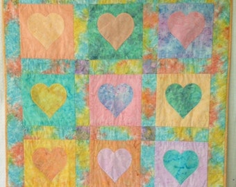 Hearts and Batiks Quilt - pastels 40 x 40