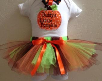 Custom made Daddy's Little Pumpkin creeper/shirt tutu with headband