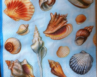 Paper napkin for mixed media, collage, scrapbook, decoupage x 1 Shell Blue