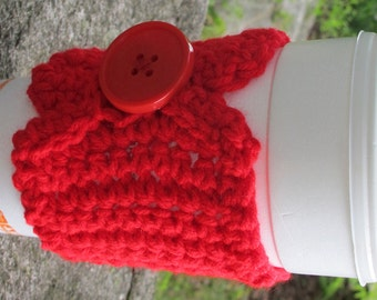 Red Crochet Cup Cozy with Button Ready to Ship